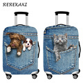 REREKAXI Blue Cowboy Cat Dog Travel Suitcase Luggage Protective Covers 18-32 Inch Trolley Elastic Dust Cover Baggage Case Cover