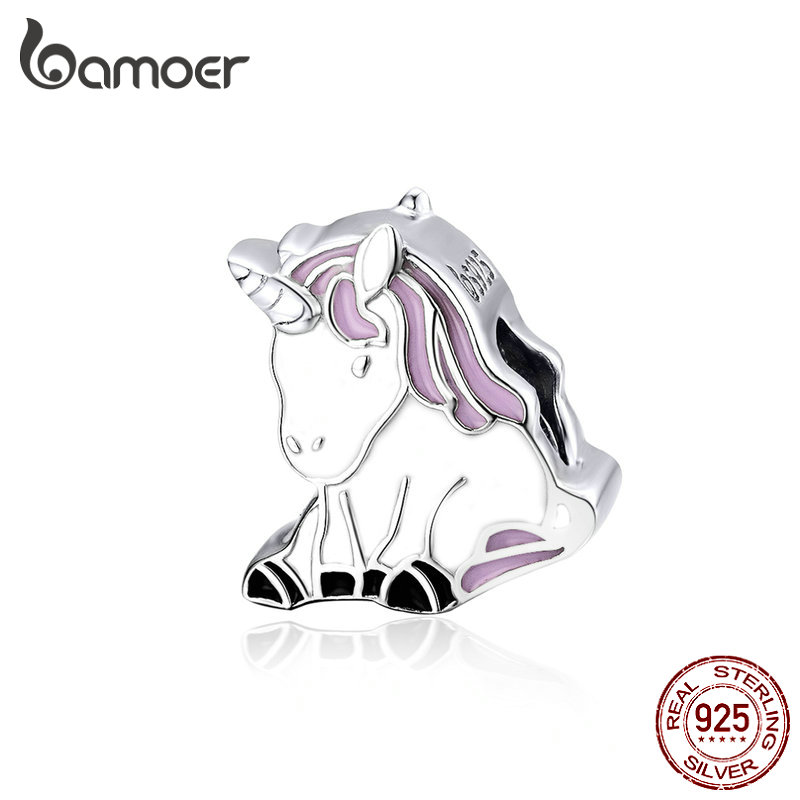 BAMOER 925 Sterling Silver and Enamel Charms Lucky Licorne Animal Metal Beads fit for Original Charm Silver Bracelet BSC074BAMOER 925 Sterling Silver and Enamel Charms Lucky Licorne Animal Metal Beads fit for Original Charm Silver Bracelet BSC074