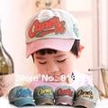 2014 letra niños gorras de béisbol, muchachas de los bebés de mezclilla vintage, niños primavera verano exterior sombrero del sol envío gratis
