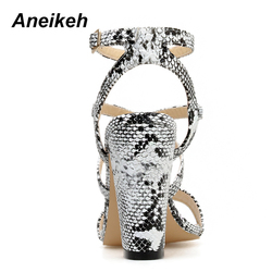 Aneikeh 2019 Summer New PU Shoes Women Sandals Sexy Open Toe Gladiator High Heels Women Shoes Big Size 41 42 Sandalias mujer 4