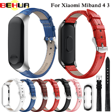 цена на Colorful Leather watchband with Case Smart Watch band for Xiaomi Mi Band 3 strap For xiaomi mi band 3 bracelet Miband 3 Strap