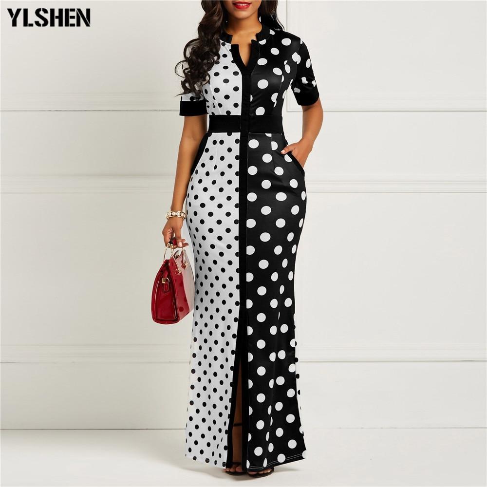 Abiti africani per le donne Dashiki Polka Dot abiti africani Plus Size estate bianco nero stampato retrò aderente abito lungo Africa