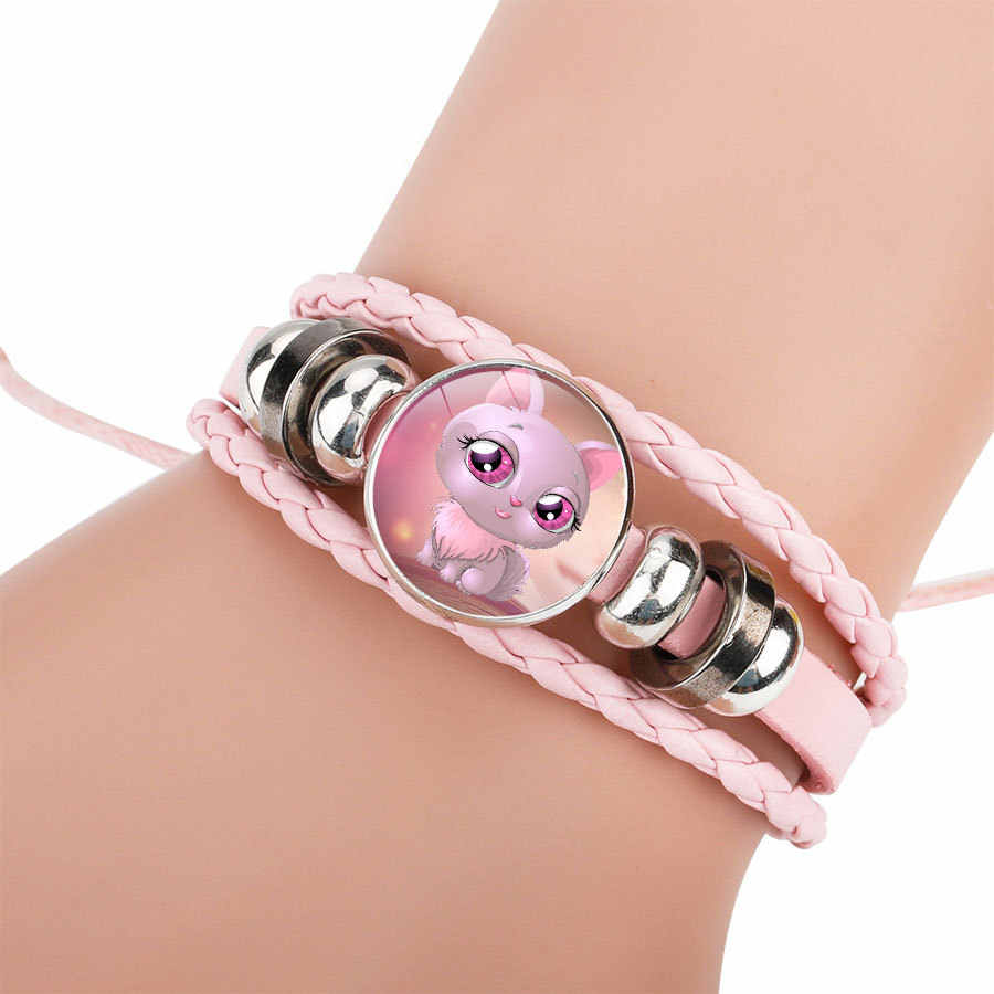 2018 Fashion Adorable Color Cartoon Cat Leather Women Beaded Bracelet Adjustable Handmade Bracelets & Bangles for Children Gifts