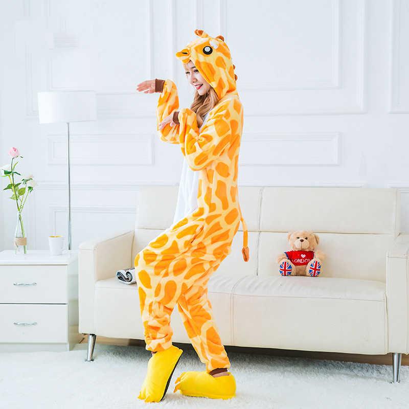 ... Vevefhuang взрослых фланель Жираф пижамы Комбинезоны Косплэй костюм  дети мультфильм животных для сна для Для мужчин ... 9a710f824485c