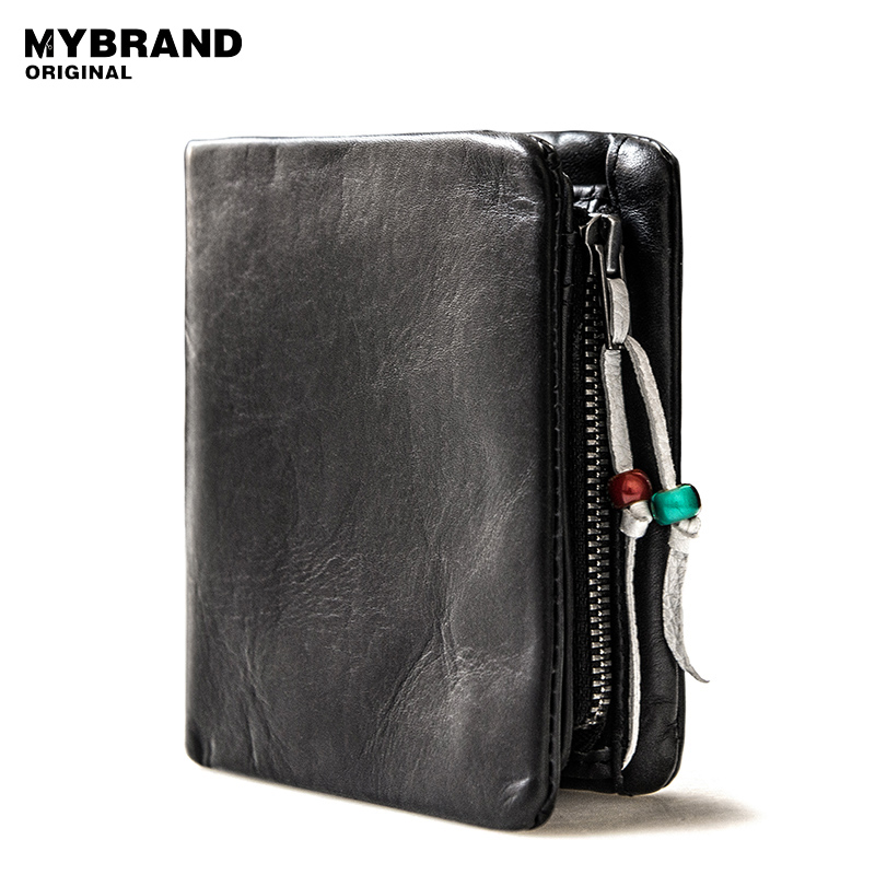 MYBRANDORIGINAL wallets genuine leather wallet for man vintage small cow leather coin male purse European and American Style Q17 men wallet promotion excellent genuine cow leather black for office man men s vintage wallets
