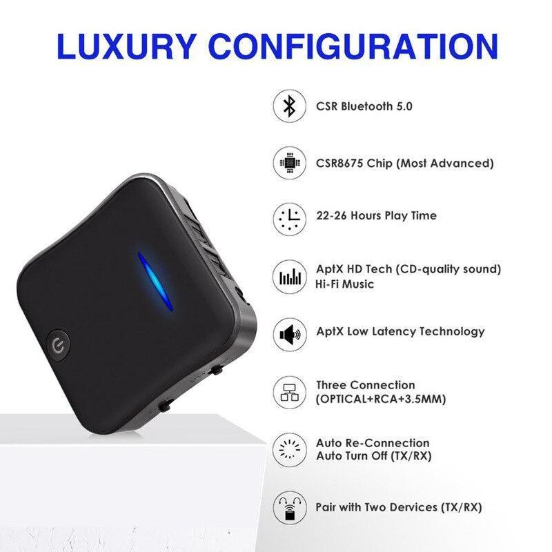 Einfach Bluetooth Sender Empfänger 5,0 Wireless Adapter Csr8675 Aptx Hd Adapter Optische Toslink/3,5mm Aux/spdif Für Auto Tv Lautsprecher Harmonische Farben Funkadapter Tragbares Audio & Video