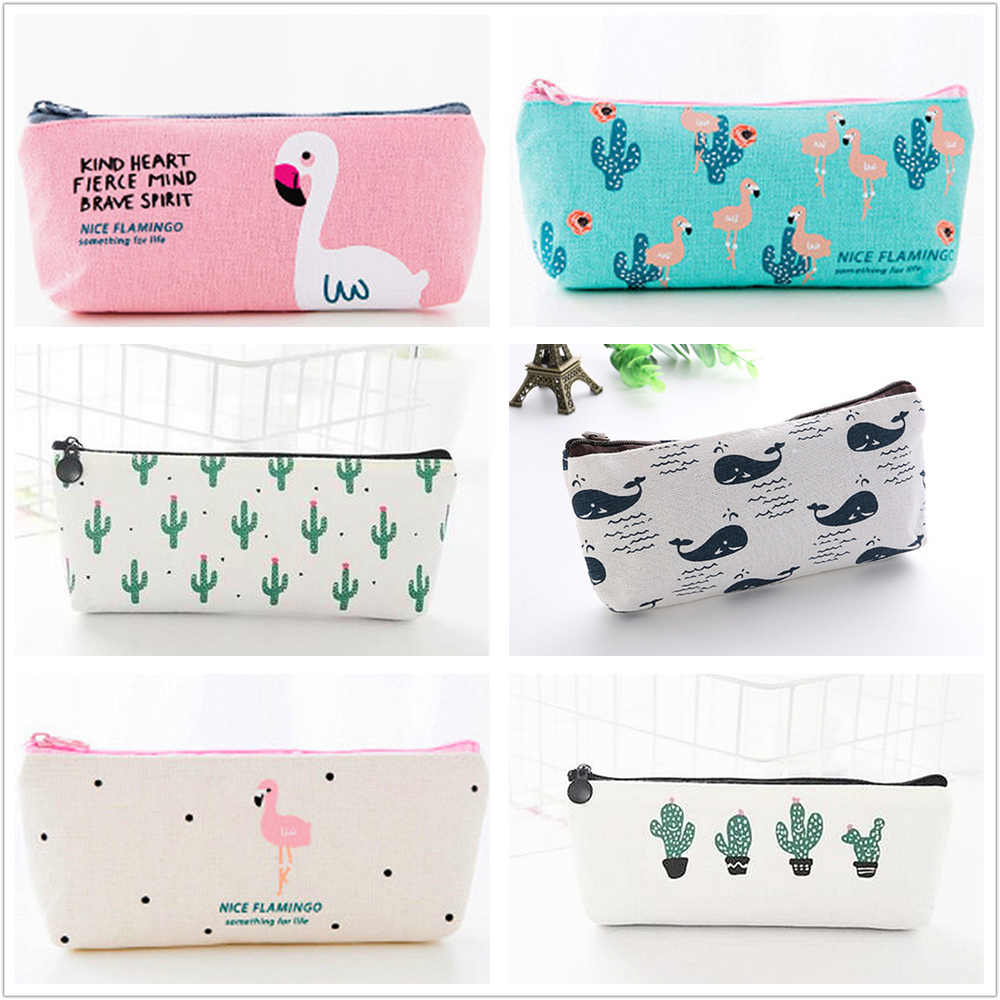 1pcs Selected 20 Styles Pencil Case Canvas School Supplies Kawaii Stationery Estuches Chancery School Cute Pencil Box Pen Bags