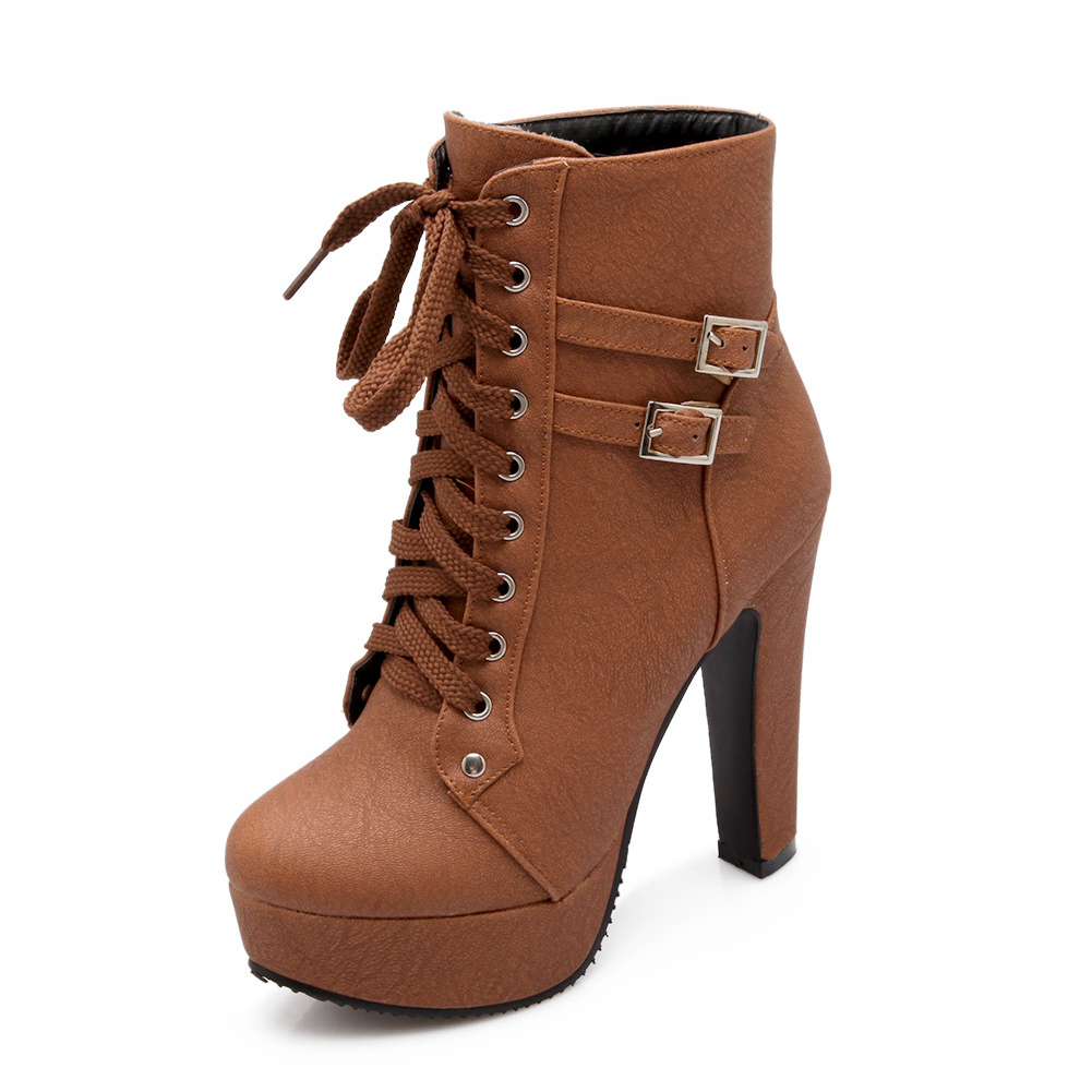 Women PU Leather Autumn Round  Waterproof Belt Buckle Wear Resistant Boots Front Lace-up High Heels