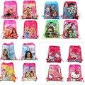 12 шт. принцессы барби привет котенок девушка из джерси мультфильм дети шнурок печатный рюкзак школу путешествия ну вечеринку сумки