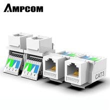 Ampcom 도구없는 전화 모듈 rj11 cat3 음성 모듈 금도금 어댑터 키스톤 잭 c26