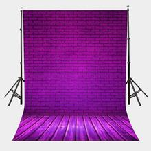 150x220cm Ultra Violet Brick Wall Backdrop Wooden Floor Photography Background