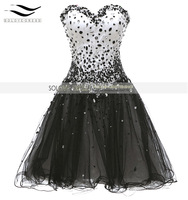 Solovedress Sparking Crystal Sweetheart Black Short Prom Dress 2016 Tulle Vestido De Festa Curto SL P128