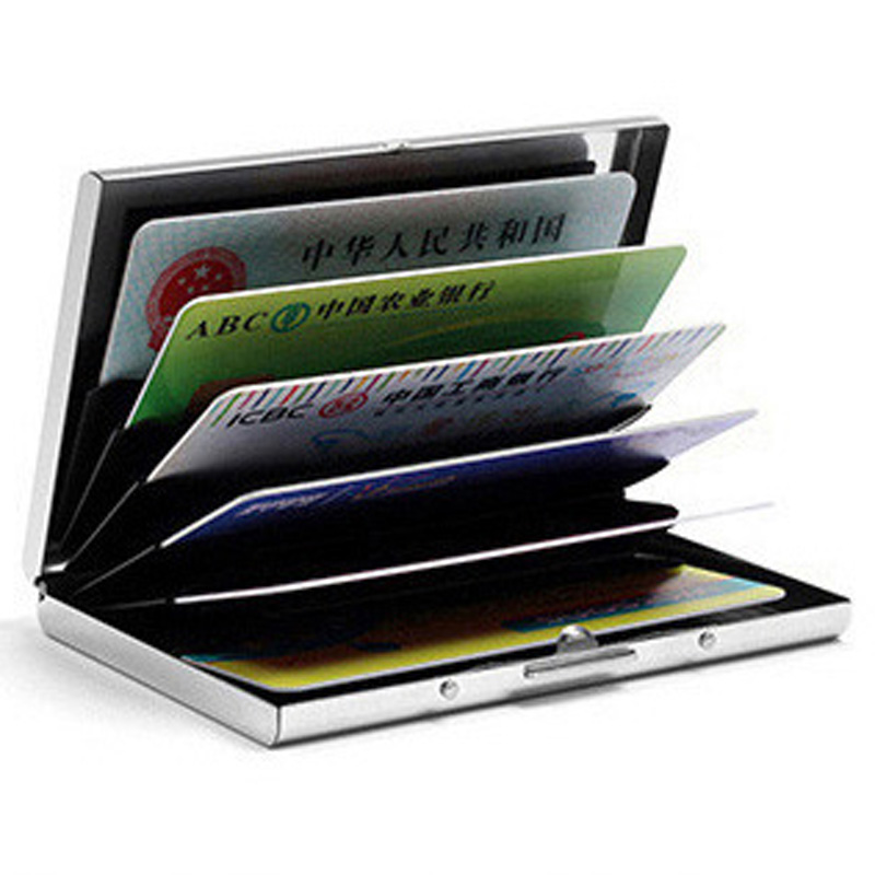 Fashion Solid Men's stainless steel credit card holder id business card case wallet for women 6 slots