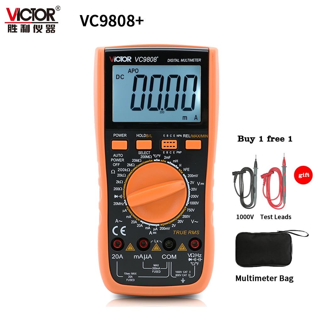 Виктор VC9808 + 3 1/2 True RMS цифровой мультиметр 1000 В 20A переносной метр Амперметр Вольтметр индуктивность частота тестер AC DC