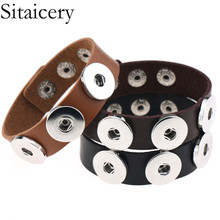 Sitaicery Gothic Delicate Black Red Leather Bracelets & Bangles DIY Button PU Punk Bracelet For Women Men Jewelry New