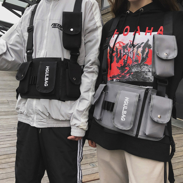 801fac6cb3bdd US $10.79 29% OFF|Men Chest Rig Bag Women Hip Hop Shoulder Crossbody Man  Tactical Vest Chest Black Streetwear Bags Kanye West Waist Pack 510-in  Waist ...