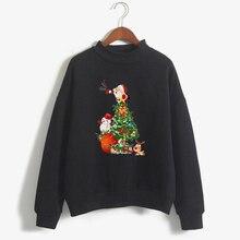 Модный Рождественский свитер черного цвета с длинным рукавом для женщин, женская одежда Harajuku размера плюс, зимний новогодний пуловер