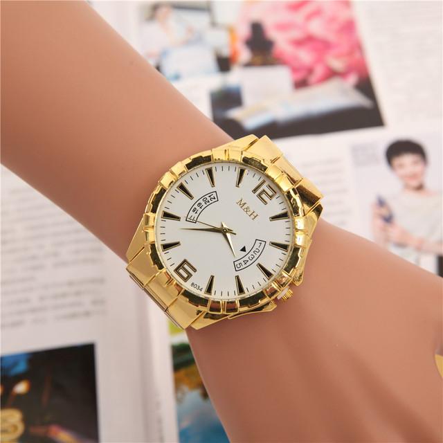 Watches Men Golden Chronograph Men Watches Gold Big Male Wristwatch Man