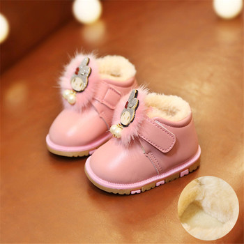 2018 Winter Toddler Girl Shoes Cute Cartoon Cat Baby Girls Shoes Warm Soft Bottom Footwear For Girls Red Leather Boot