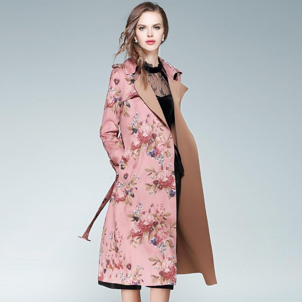 Women/'s Retro Faux Suede Floral Trench Coat Chic Windbreaker Jacket Overcoat US