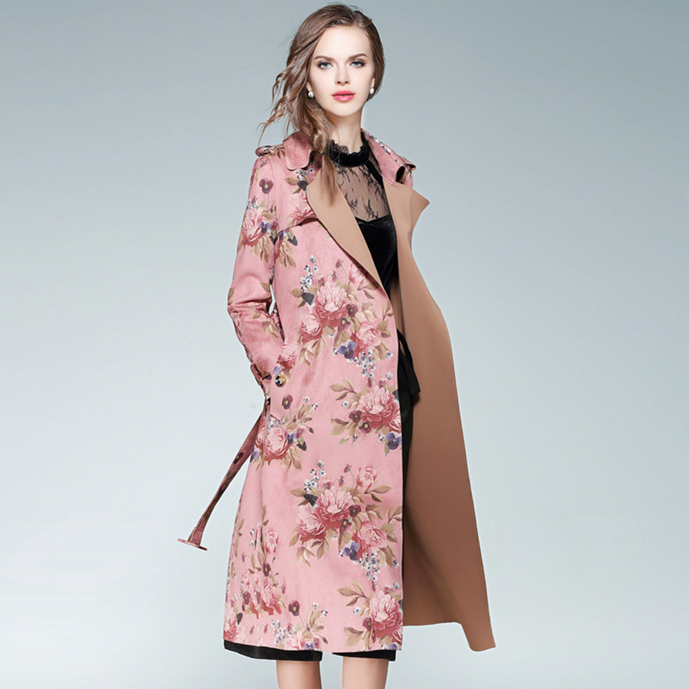UNIQUEWHO Lady Women Pink Suede Velvet   Trench   Coat Lapel Floral Printed Belted Windbreaker Knee-Length Long Overcoat Spring New