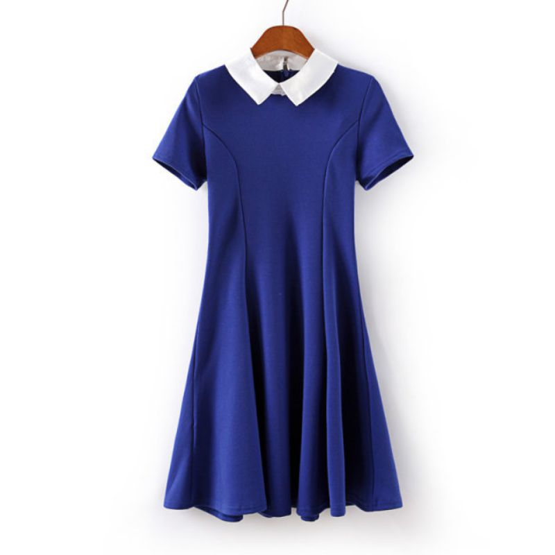 b6e2211fc Detail Feedback Questions about Elegant Vestidos Party Dresses Women  Students School Sundress Dresses Peter Pan Collar Solid Color Short Sleeve  Office Dress ...