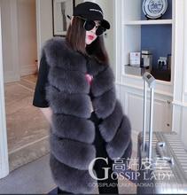 Design New Winter Real Fox Fur Vest Women's Full Pelt Gilet Warm Luxury Down Coat Real Natural Fox Fur Waistcoat Pockets 10415