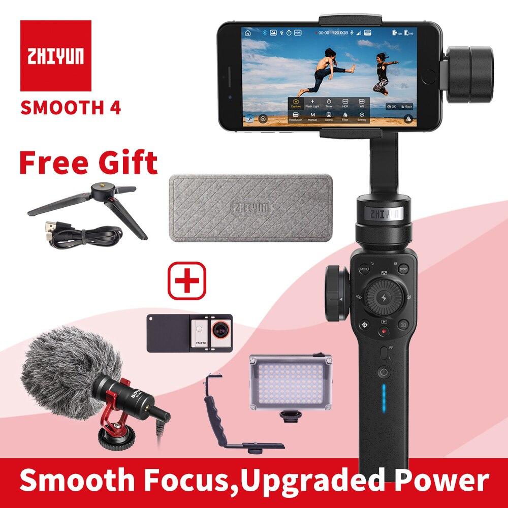 ZHIYUN Smooth 4 smartphone Handheld 3 Axis gimbal estabilizador Cámara de Acción selfie teléfono steadicam para iphone Sumsung Gopro