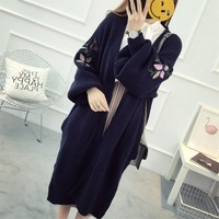 KL1302 Autumn Winter Female Embroidery Oversized Sweater Open Stitch Long Cardigan Women Coats Tops