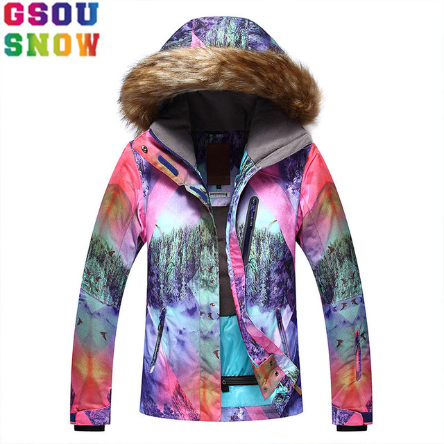 48c54a1a58 GSOU SNOW Brand Ski Jacket Women Snowboard Jacket Flee Hooded Winter  Waterproof Cheap Ski Suit Outdoor Ladies Sport Clothes 2017