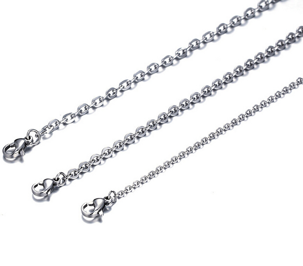 Unisex 1.5mm Wide Stainless Steel Oval Link Necklace - Length: 50cm cGAlPlz