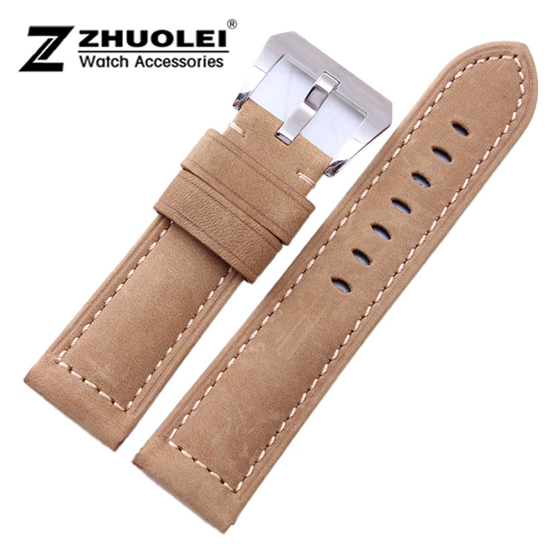 24mm Italy Genuine Leather Strap Watch Band For Mens Wrist Watch Silver Brushed Stainless Steel Buckle