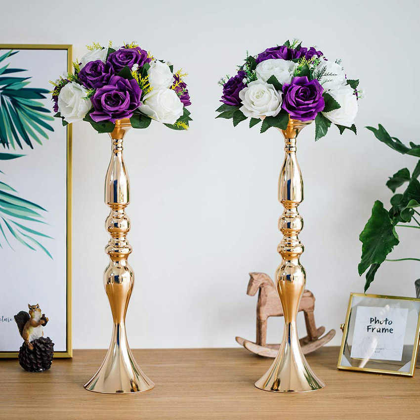 ERMAKOVA 10 Pcs/Lot 50cm Tall Metal Vase Pillar Candle Holder Stand Centerpiece Artificial Flower Arrangement Wedding Decoration