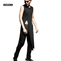 Summer Men Tank Tops Fashion Hiphop Sleeveless Tees Shirts Male Slim Fit Punk Gothic Long Style Tank Vest Stage Costumes