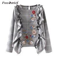 Free Ostrich Fashion Embroidery Shirt Women Plaid Ruffles Casual O Neck Long Sleeve Women Tops Autumn
