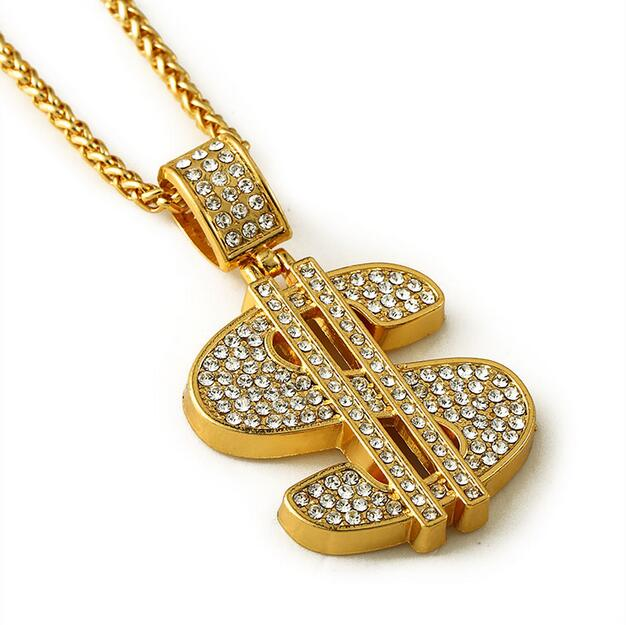 Wholesale Top New men jewelry 18K Gold Plated Bling Bling Dollar Sign Gold  Necklace Chain Fashion 3d49d1f2f