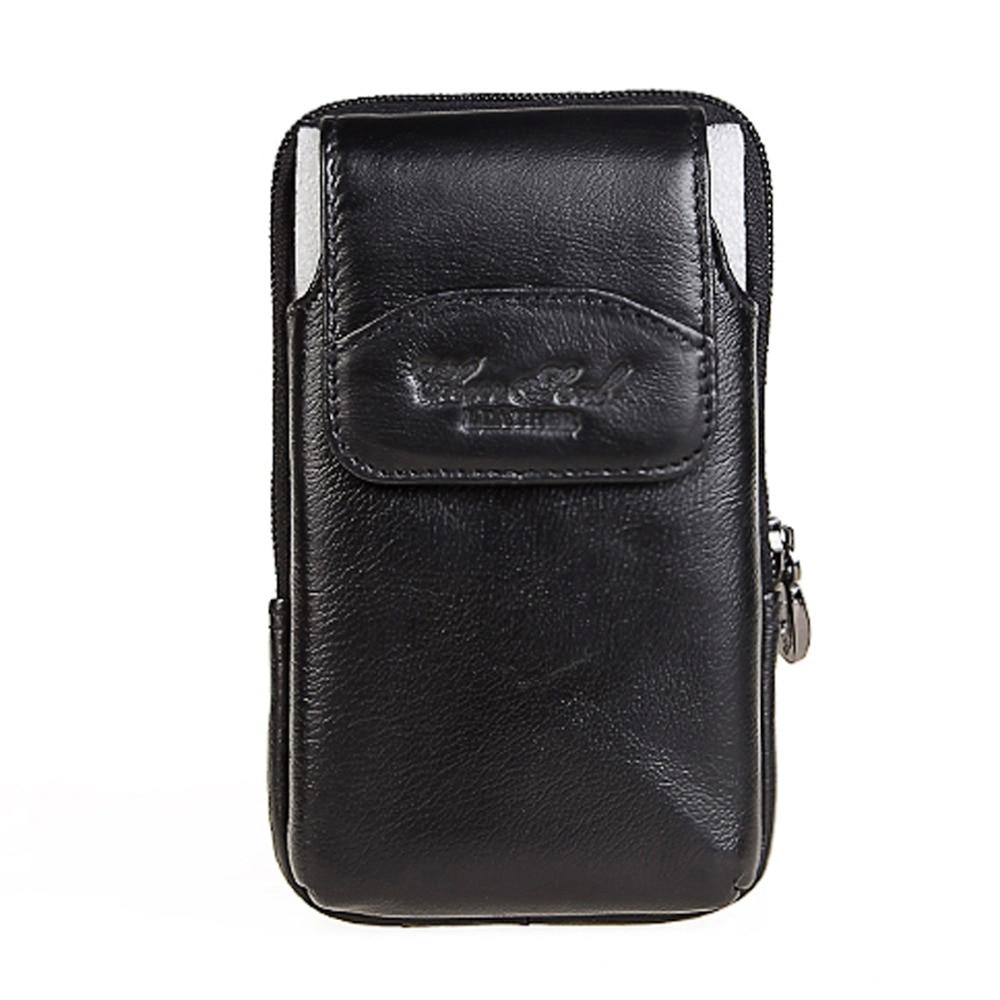 Men Waist Fanny belt Bag Pack Phone cow Leather Purse Wallet Pouch black 3176