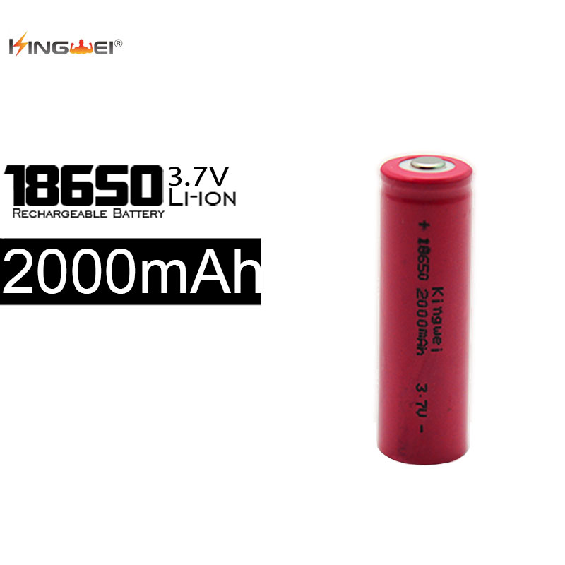 Ventes Directes d'usine KingWei 100 Pcs 2000 mAh 18650 Batterie 3.7 v Rechargeable Li ion Batteries