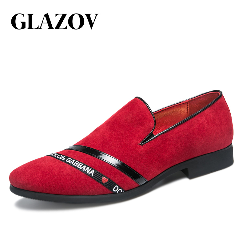 GLAZOV 2019 Brand Men Luxury Painted Genuine Leather Shoes Fashion Informal Dress Shoes Men's Casual Business Party Shoes Suede