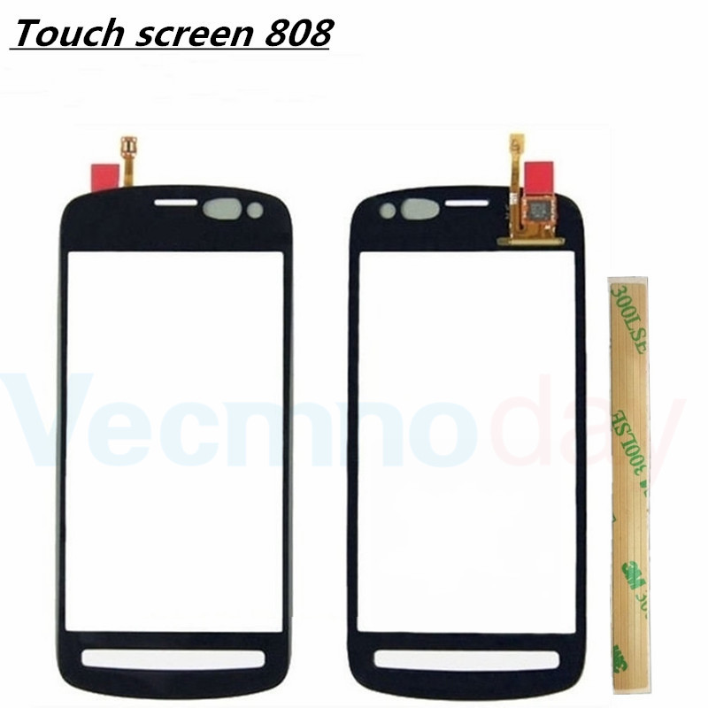 Front Panel Digitizer For Nokia PureView 808 Touch Screen Sensor LCD Display Glass Cover + 3M Sticker