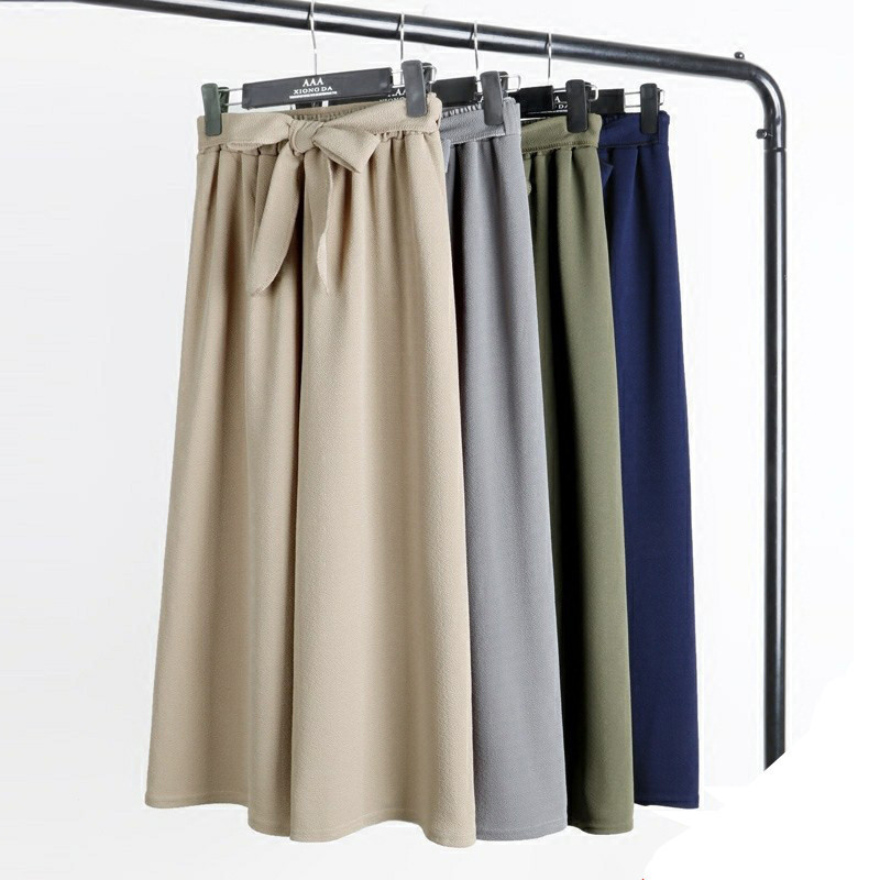 Summer   Wide     Legs     Pants   Female Bow Tie Trousers High Waist   Pants   Pure Color Elastic Waist Straight Leisure Loose   Pants