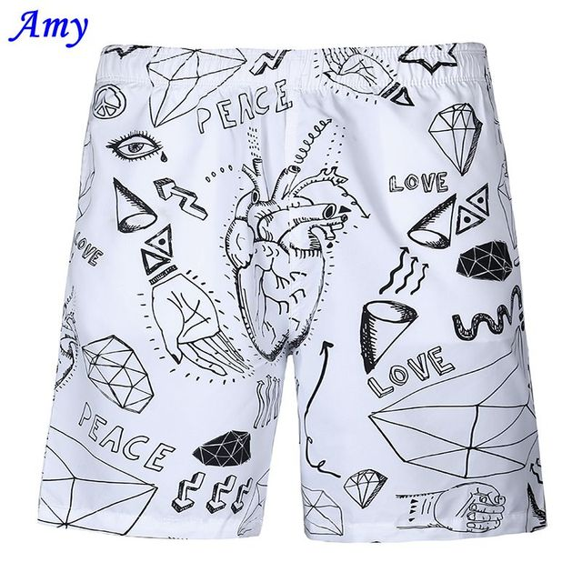 2016 New Hot 3D beach shorts Men Thin shorts Good Casual Quick-drying Diamond Letters Digital Printing Two Layer Size S-XXL