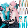 """Free Shipping 40"""" 100cm Popular Long Blue Green Golden Blonde Vocaloid Hatsune Miku Cosplay Show Anime Full Wig Two Ponytails"""