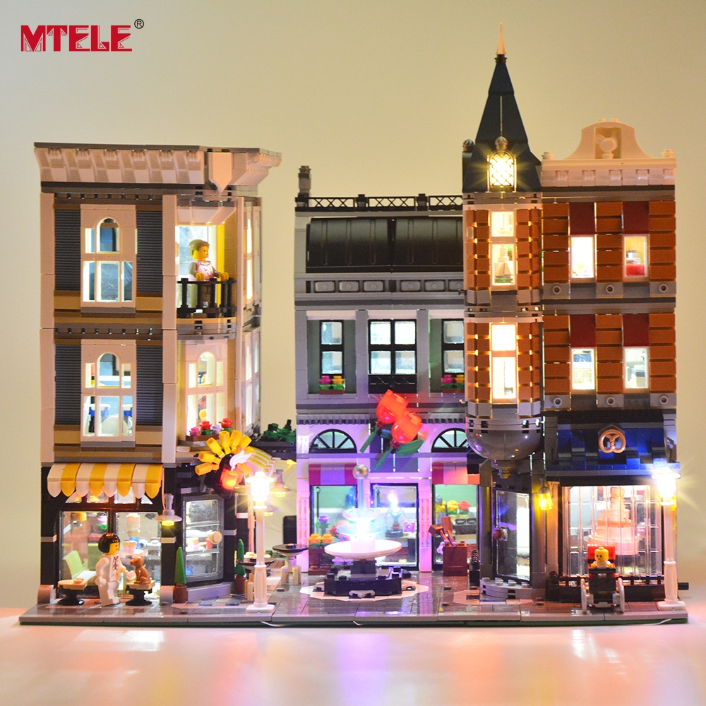MTELE LED Light kit For The Assembly Square Set City Building Block Light Set Compatible with Lego 10255 And 15019 in stock with light 15019b 4122pcs lepin 15019 4002pcs assembly square city serie model building kits brick toy compatible 10255