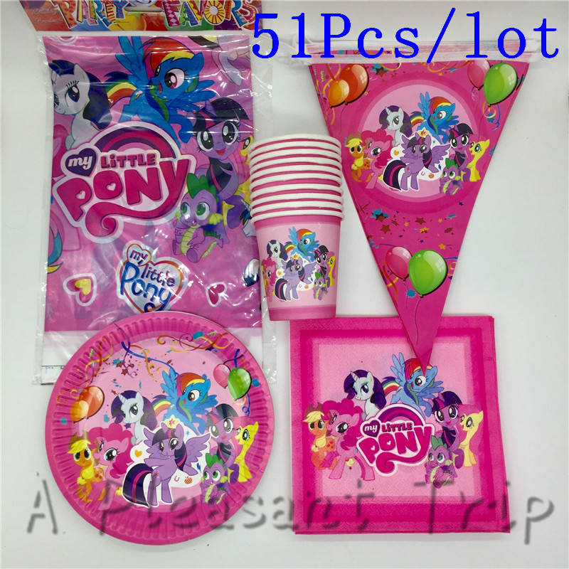 51pcs my little pony design party set 10person use happy birthday decoration tableware set paper dish cup straw tablecover ect