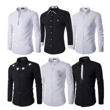 Casual Shirts Long Sleeve Tuxedo Mens Clothing clothes male Designer Brand Tommis Fashion White Black Men's Shirt z5
