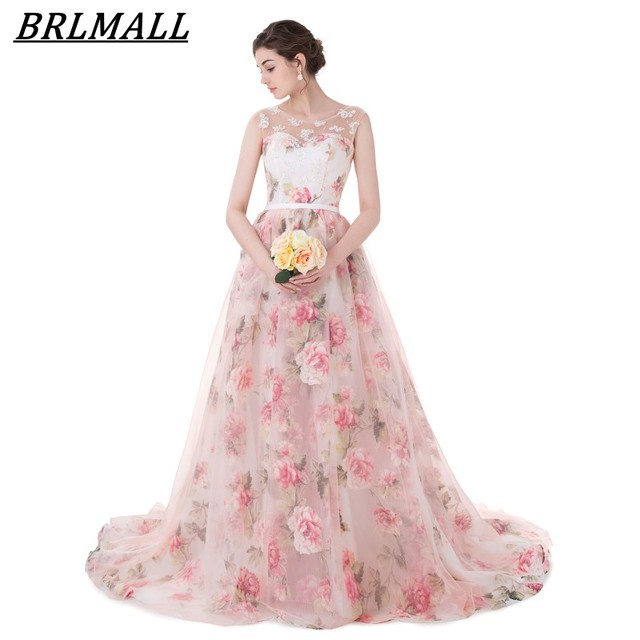 BRLMALL Lace appliques Print Wedding Dresses Lace up Ball Gown 2017 Trendy  Floral Bridal gowns Sleeveless Vestido De Noiva 73f1e02ae31a