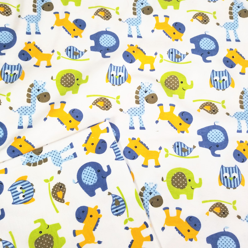Printed Blue Horse Knitted Baby Jersey Fabric for DIY baby clothes, bibs, coated, bed sheets material 50x170cm