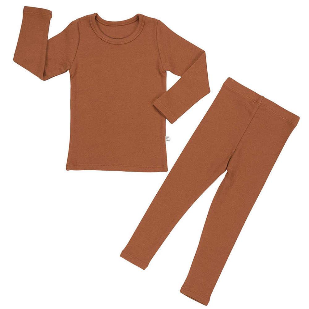 Balita Bayi Anak-anak Gadis Lengan Panjang Solid Tops + Celana Piyama Bayi Gadis Musim Dingin Pakaian Baju Tidur Pakaian 0506