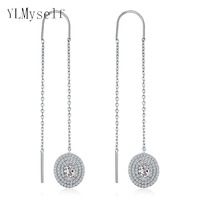 Long Tassel Chain Earrings For Women Oval Zircon Crystal Aretes Dangling Drop White Earing Fashion Accessories